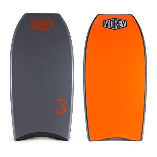 Morey Pro Series Mach 10 | 42 Inch Bodyboard | X-Flex Polypro Core & Mesh | Single Power Rod Stringer | Slick Bulbs & Crescent Tail | Surfboard for Ocean, Sea, River, Pool (42', Grey)