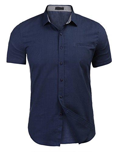 Hemd Herren Leinenhemd aktmungsaktiv Bügelleicht maschienenwaschbar marine blau xxl
