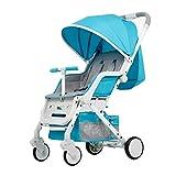 Carritos y sillas de Paseo La aleación de Aluminio Plegable Ligera portátil de la Carretilla del Cochecito Puede Sentarse el Cochecito de Descanso Bebé Sillas de Paseo (Color : Blue)