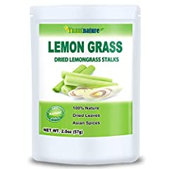 Pure Lemongrass Stalks, 2.0 Ounces, 100% Natural, No Fillers. Ingredient – 100% Pure Lemon Grass, Sun Dried and Raw. Culinary Grade Lemongrass Spice, Perfect For Thai Food and Tea. Great Fresh Lemony Aroma and Citrus Flavor.