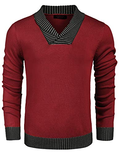 COOFANDY Mens Shawl Collar Knitted Sweater Casual Long Sleeve Pullover Red
