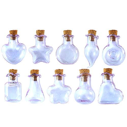 Milageto 10x diferente en forma de botella de vidrio desear botellas de bola de vidrio para colgante de bricolaje encantos aleta de pendiente haciendo para - Púrpura