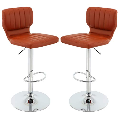 Brage Living PU Adjustable Height Barstool with Chrome Base and Footrest - Set of 2 (Brick)