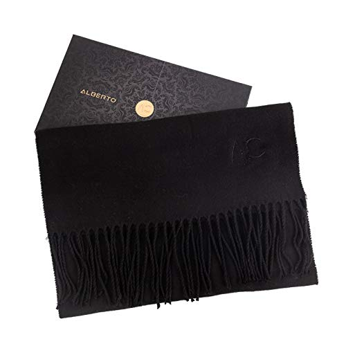 ALBERTO CABALE Women Men Lovers Unisex Smooth Cashmere Scarf Super Soft Plaid Solid Wrap Shawl Scarf in Luxury Gift Box Black