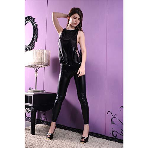 AFYH Sexy Leder Uniform, Backless Stripper Halter Top-Leder-Gamaschen, elastische Lackleder passen bequem, Durchbrochene ist glamourös und sexy - one Size schwarz