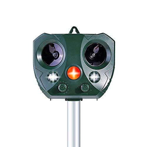 AWLGAK Repelente de Gatos,Repelente de Gato por ultrasonido Solar con sensibilidad y frecuencia Regulable,para Uso al Aire Libre,ristente al Agua,LED,Animales,Ratones,Perroas,Gatos,pájaros
