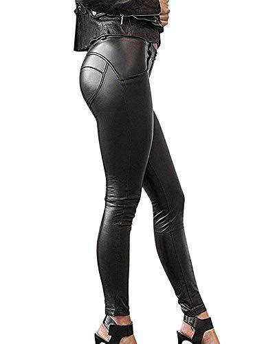 Minetom Damen Lederhose Sexy Skinny Legging Stretch PU Leder Look Optik Schwarz Schlank Hose Kunstleder Treggins Schwarz DE 38