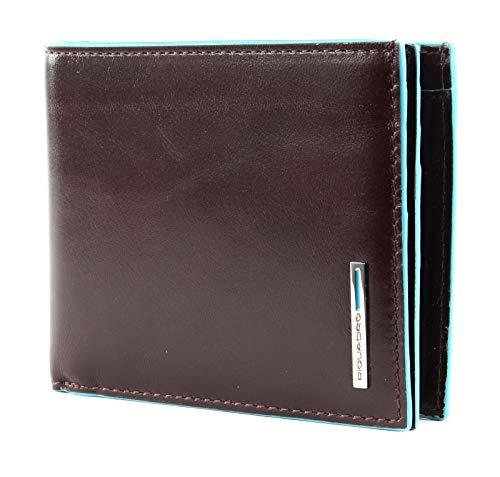 PIQUADRO Wallet with Coin Case quadrato blu Wallet with Coin Case Mahogany