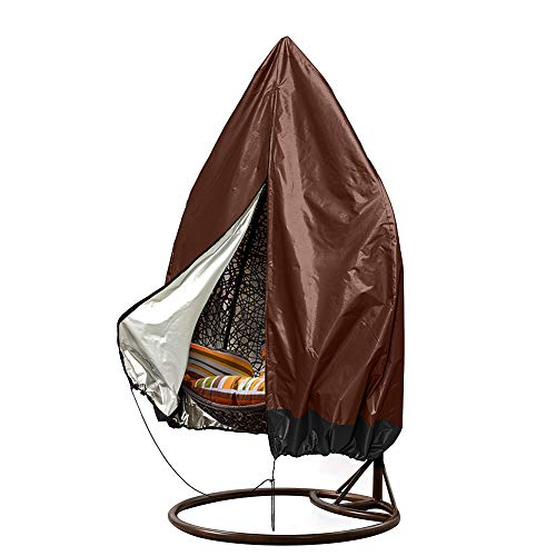 HANSHI Patio Chair Cover - Heavy Duty Waterproof Cover or Single Swinging Egg Chair/Pod Chair/Swingasan Outdoor Furniture Cover Up to 74.8' H x 45.3' D (Coffee+Black)