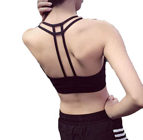 Nvfshreu Sportbeha voor dames, professionele bhfitness, hardlopen, sport, yoga, training, ondergoed, eenvoudige stijl, Free Dry Soft Classic, zwart, rugvrije bril, beha ondergoed