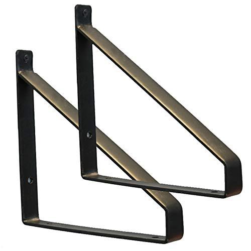 Shelf Brackets Soportes para estantes de Pared,escuadra sujeción de Metal rústico de 25 cm, Estante Flotante de Hierro, para Sala de Estar baño y Cocina, Carga máxima de 50 kg (2 Piezas)