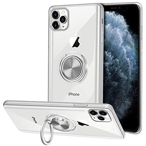 Vunake für iPhone 11 Pro Max Hülle Silikon TPU Slim Case mit 360 Grad Ring Ständer Bumper Handyhülle Halter Magnetische Autohalterung Transparent Schutzhülle Cover für iPhone 11 Pro Max 6.5 Zoll,Clear
