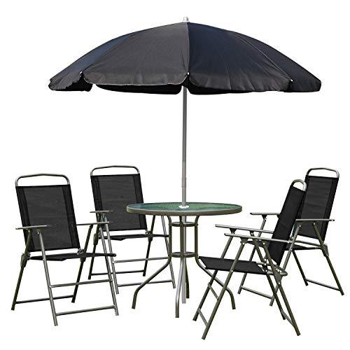 Outsunny Conjunto de Muebles para Jardín con 4 Sillas 1 Mesa y 1 Parasol Textilene Acero y Poliéster