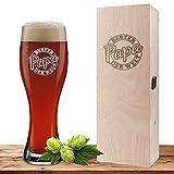 Weizenglas mit Motiv Siegel 'Bester Papa' inklusive Geschenkbox aus Holz, Bierglas 0,5 Liter mit gravierter Holzbox, Vatertag oder Geburtstag, personalisiertes Weißbierglas