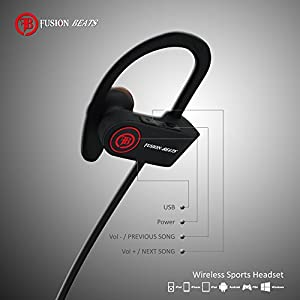 Fusion Beats Bluetooth Headphones / Best, Noise Cancelling Wireless Sports Earphones / Sweatproof Earbuds for Gym Running / Up to 8 Hours of Working Time / Built-in Mic Headsets