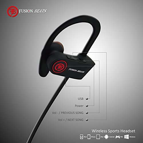 Fusion Beats Bluetooth Headphones / Best, Noise Cancelling Wireless Sports Earphones / Sweatproof Earbuds for Gym Running / Up to 8 Hours of Working Time / Built-in Mic Headsets 4