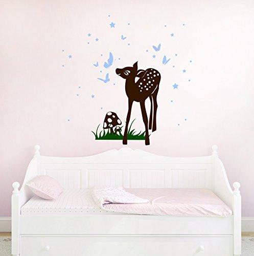 ilka parey wandtattoo-welt® Wandtattoo REH Rehlein mit Schmetterlingen Sternen Deer Kinderzimmer Wandtattoo M1192 (braun/grün/lichtblau)
