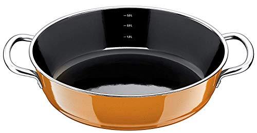 Silit Passion Orange Servier-Schmorpfanne 28 cm, Bräter, Schmortopf 4,1l, Silargan Funktionskeramik, hoher Rand, Induktion, orange
