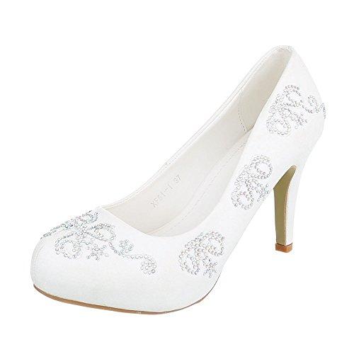 Ital-Design High Heel Damen-Schuhe Plateau Pfennig-/Stilettoabsatz High Heels Pumps Weiß, Gr 36, Xf51-I-