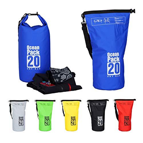Relaxdays Zaino Impermeabile Ocean Pack 20L Borsa Ultraleggera Sacca Dry Bag da kajak Rafting Vela Sci Snowboard Blu