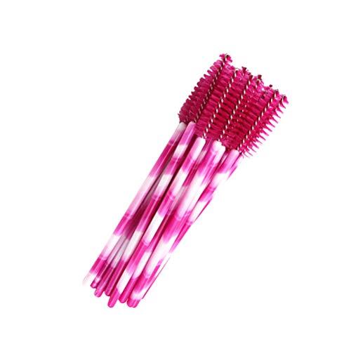 Lurrose 50pcs mascara cils pinceaux de maquillage baguettes yeux cils applicateur de sourcils cosmétique maquillage kits de brosse à outils (rose rose blanc)