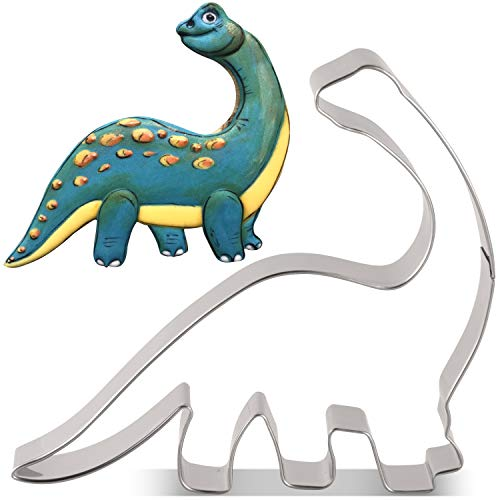 LILIAO Dinosaur Brontosaurus Cookie Cutter for Kids Birthday Party - 43 x 4 inches - Dino Biscuit and Fondant Cutters - Stainless Steel