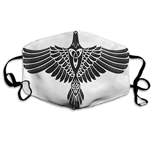 mundschutz Atmungsaktive Gesichtsbedeckung Mundbedeckung Staubdichte nordische Mythologie Thema Vogelfigur In Celtic Ancient Symbol Monochrom, Gesichtsdekorationen