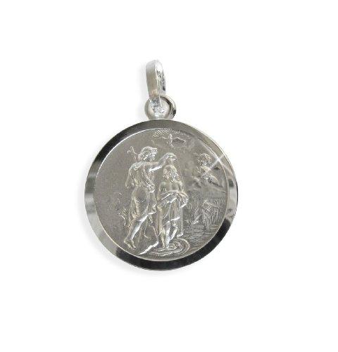 Heiliger Johannes Medaille Anhänger 16mm echt Sterling Silber 925 (213050) Gratis Express Gravur