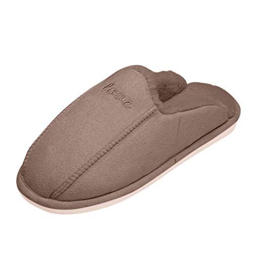 Pantoufles Femme Homme Hiver Peluche Uni Chaud Confort AntidéRapant Pas Cher Chaussons Mousse MéMoire en Coton Souples Mocassins De Maison