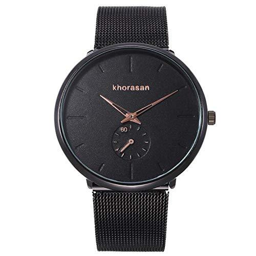 ZSDGY Reloj Monocolor de 2 punteros, Correa de Malla de aleación, Reloj de Cuarzo para Hombre E