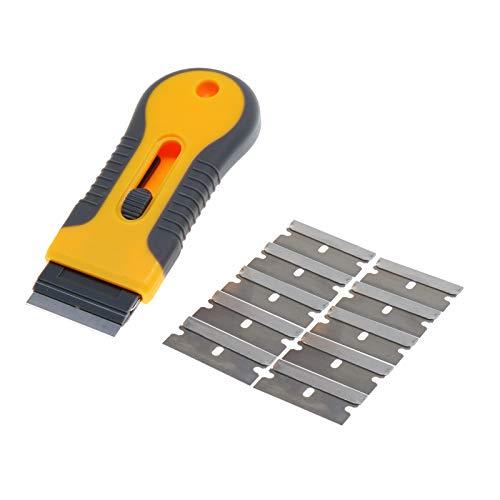 Razor Blade Scraper and 10pcs Replaceable Razor Blades,Multi-Purpose Cleaning Razor Scraper for Decals, Stickers, Labels, Caulk, Adhesive, Paint Removal