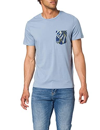 Jack & Jones JJPOCK tee SS Crew Neck Camiseta, Denim/Ajuste: reg, M para Hombre