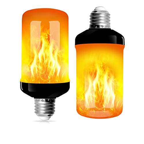 swonuk 2 Stück Flammenlampe E27 Basis 4W LED Flammeneffektlampe 4 Beleuchtungsmodus Innenlampe Dekoration Hausgarten