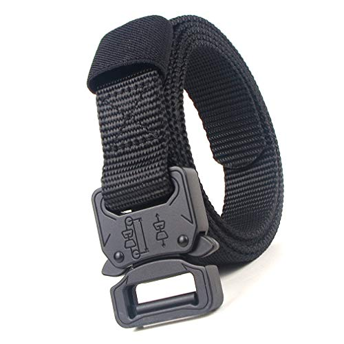 Tactical Belt Heavy Duty Canvas Belt Riggers militare Cintura in tessuto con fibbia a sgancio rapido (nero)