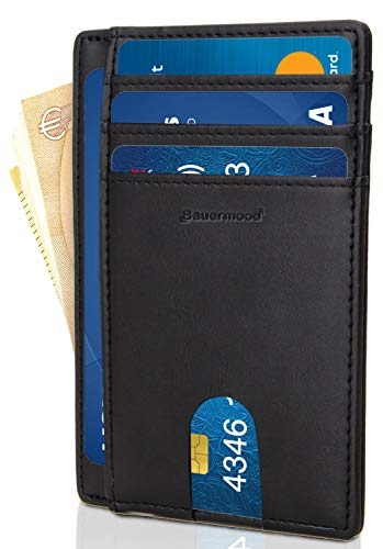 Portafoglio Uomo Piccolo Sottile - Bauermood - Mini Portafoglio Uomo - Porta Carte di Credito - Porta Tessere Uomo Slim Minimalista - Ottima Pelle di Qualità (A1 - Portafoglio Slim Nero)