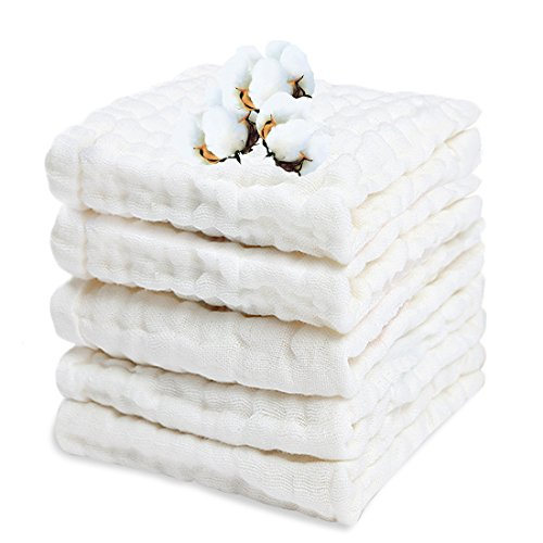 PPOGOO Baby Muslin Washcloths Purified Cotton Baby Wipes Newborn Baby Face Towel Excellent Soft Baby Shower Registry Gift 5 Pack 10x 10 White