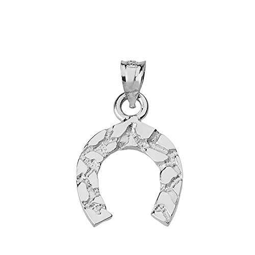 Lucky Nugget Horseshoe Charm Pendant (Sterling-Silver)