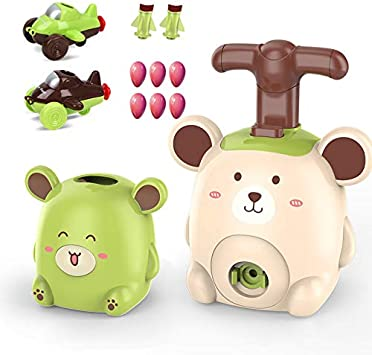 Frog RubRab Power Balloon Racer Car Toy Balloon Powered Launch Car,Aerodynamic Cars Stem Toys,Balloon Pump Car Science Experiment Toy Hand Push Inflator Air Pump Toys Toddler Toy Gift