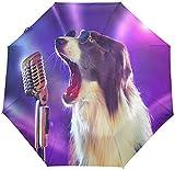 Paraguas automático divertido perro cantando a prueba de viento, encantador cachorro viaje sol lluvia al aire libre paraguas