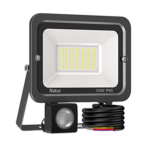 100W Foco LED con Sensor de Movimiento,10000LM Proyector LED Exterior Luz Exterior con Sensor de Movimiento 6000K Foco...