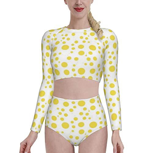 Axige888 Patrón de lunares amarillos en blanco para mujer protector solar manga larga traje de baño camisa de natación con bóxer