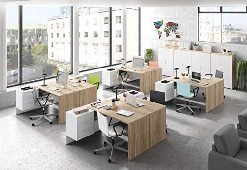 Miroytengo Conjunto Muebles despacho Oficina 8 mesas Escritorio y 4 armarios Color Blanco artik y Roble Canadian
