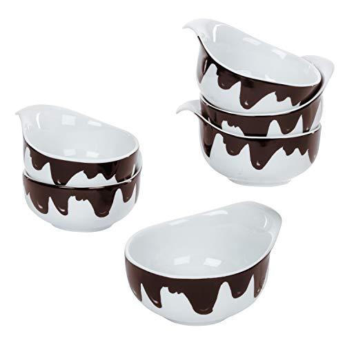 MamboCat 6er-Set Fondueschälchen Blob 150ml Servier-Schale für Löffel-Dessert Klekse Schokobraun Porzellan-Geschirr weiß Gastro-Artikel Küchen-Zubehör