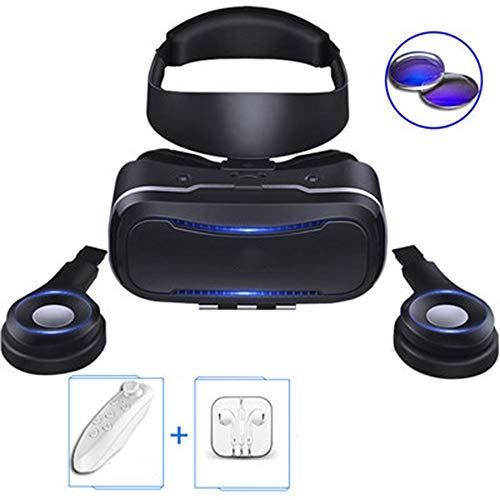 YANJINGYJ Gafas VR 3D Realidad Virtual,Gafas virtuales VR Montado en la Cabeza Material de PC Mira Todo Tipo de películas y películas, Juegos. Aplicable a teléfonos móviles Apple, Huawei,Black,A