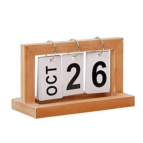 Houten pagina draaiende bureaukalenderdecoratie, houten pagina-omkeerkalender, creatieve en eenvoudige huiskalenderdecoratie