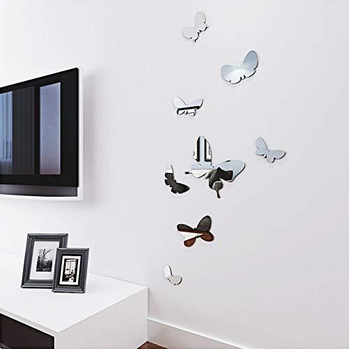 SYQH gespiegelde 3D muur Sticker Stereo Vlinder Woonkamer Nachtkastje Stickes Diy Home Decor Wallpaper Tv Achtergrond Art Muursticker