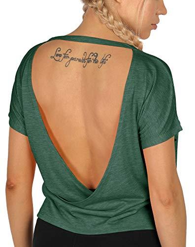icyzone Camisetas de entrenamiento de espalda abierta para m