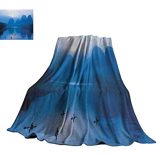 mallcentral-EU Asiatica, Coperte da Letto Alba con zattera di bambù a Yangshuo su Li River China Fishing Boat Scenic Mush Plush Blanket