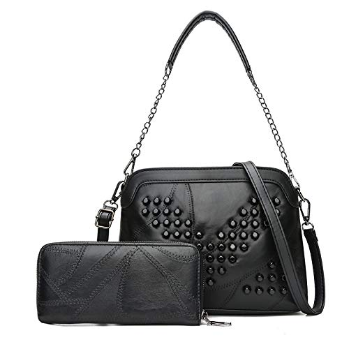 Borsa a tracolla alla moda 2 in 1 in pelle colore puro alla moda PU borsetta Single-tracolla Messenger Bag di Rivet Donne (MODELLO : V Rivet)