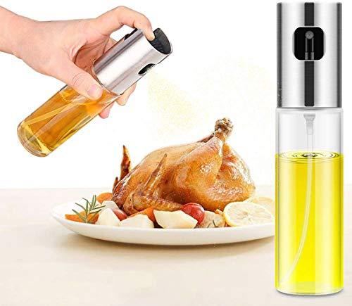 Emoly Olive Oil Sprayer, Transparent Food-Grade Glass Oil Spray,Portable Spray Bottle Vinegar Bottle Oil Dispenser for BBQ/Cooking/BBQ/Salad/Baking/Roasting Kitchen Stainless Steel